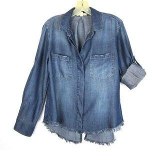 Cloth & Stone Tencel Top Split Back Frayed Hem S
